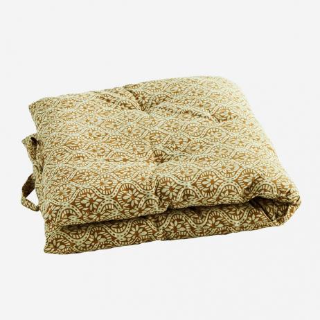 Sur-matelas Jaune ocre et beige clair - édredon en coton épais