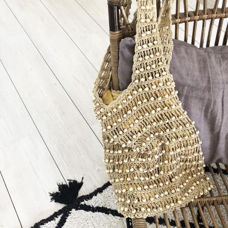 Sac Perle coloris Naturel doublé coton beige - Fait main à Bali