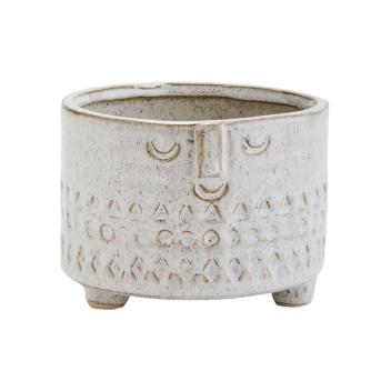 Pot en grès Beige pour plantes ou rangement motif ethnique relief