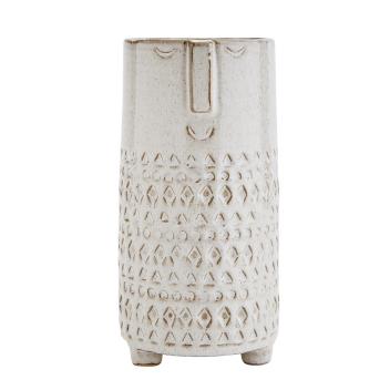 Pot ou vase en grès Beige allongé taille M ethnique pour vos bouquets