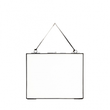 Cadre Photo L à suspendre en métal noir 25 x 20 cm et fil cuir noir