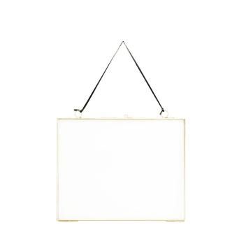 Cadre Photo L à suspendre en métal doré 25 x 20 cm et fil cuir noir