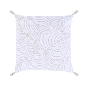 """Coussin imprimé végétal 100 % coton """"Alicia"""" 45 cm blanc / beige"""