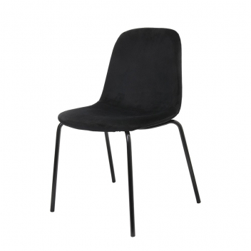 Lot de 2 chaises Velours pieds métal style Rétro - 2 coloris