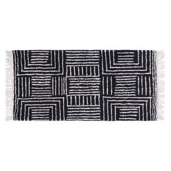 Tapis en Coton rayure et carré Coloris noir / naturel - 2 Tailles