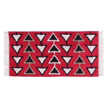 Tapis lavable en Coton Triangles Coloris noir / rouge - 2 Tailles