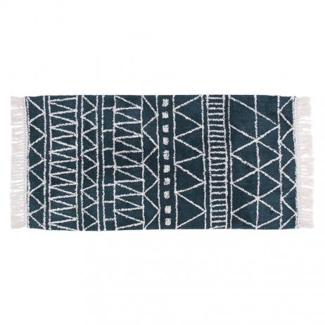 Tapis en Coton motif ethnique Coloris vert bleu