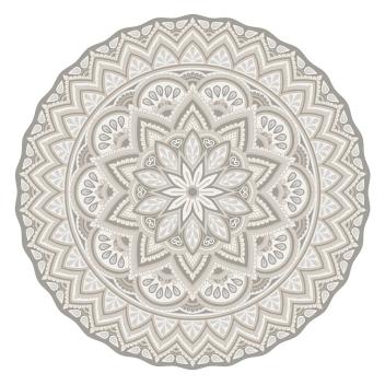 Tapis vinyle rond Pvc Matteo Modèle Mandala Gris - Beige