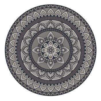 Set de table Pvc rond Matteo Modèle Mandala 2 Gris - bleu
