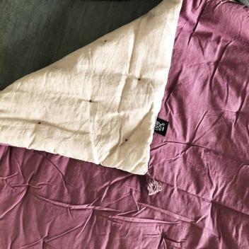 Grand sur-matelas Lin et Coton coloris Rose poudré - Violet face coton