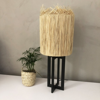 Lampe à poser XL avec abat-jour en raphia fait main - Hauteur 65 cm