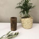 Pot à crayons en bois fait main - Racine de noyer