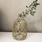 Vase Bohème Suzanne en verre clair et filet jute