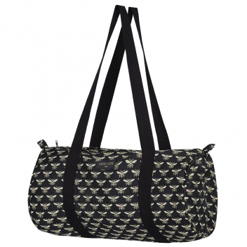 Sac sport allongé en tissu Made in France motif Abeille - Coloris noir