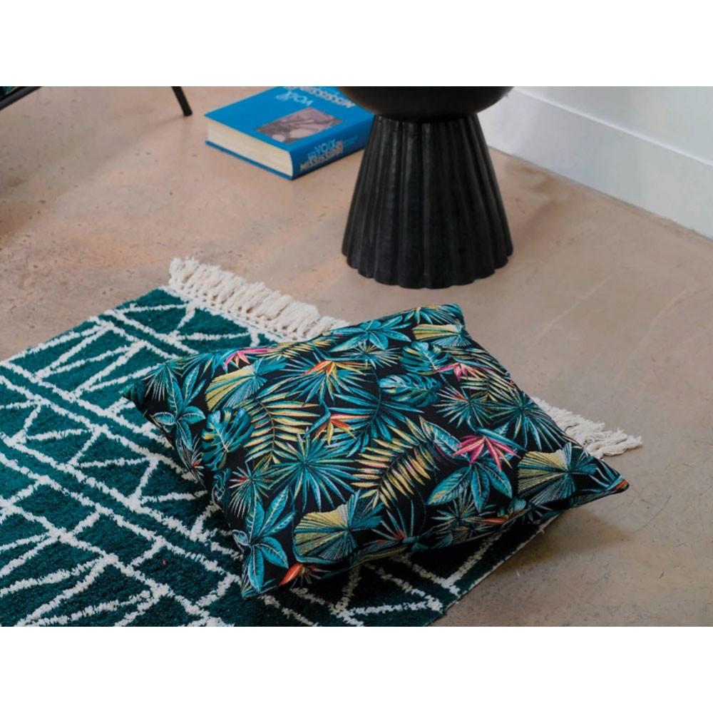 tapis en coton motif ethnique coloris vert bleu 2 tailles