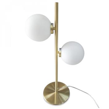 Lampe à poser 2 globes en Verre blanc et base métal doré
