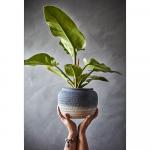 Pot de fleur -  plantes ou vase en grès Beige T. M Bleu blanc patiné