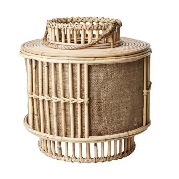 Lanterne XL à poser ou à suspendre en rotin et jute H. 40 cm