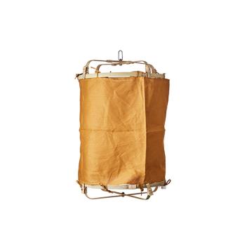 Lanterne Thaïlandaise suspendue Bambou et tissu lin Moutarde - 2 tailles