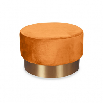 Grand pouf en velours orangé