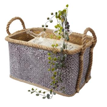 Panier rigide en Herbe de mer naturel et violet Lila - 3 modèles