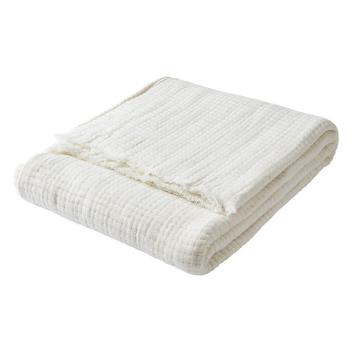 Plaid ou Couverture en Gaze Coton blanc Ivoire 160 cm