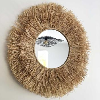 Miroir en raphia XL fait main en fibre Naturelle avec franges