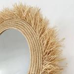 Miroir en raphia fait main taille XL fibre Naturelle avec franges
