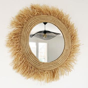Miroir en raphia XL fait main en fibre Naturelle avec franges D. 60 cm