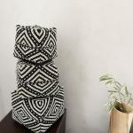 Boite à offrandes de Bali en perles noir et beige - 3 Tailles