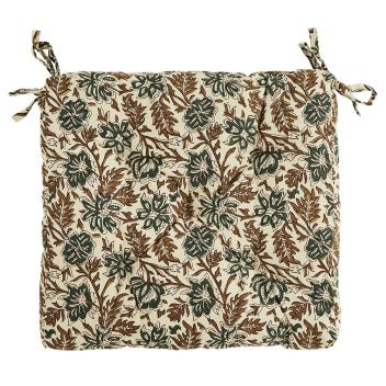 Coussin de chaise Coton motif floral Beige - Noir - Mme Stoltz