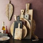 Assiettes rondes en bois de manguier