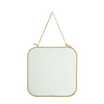 Grand miroir carré formes arrondies en métal doré