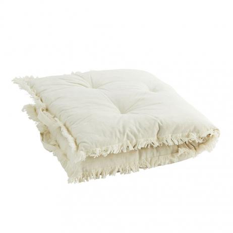 Sur-matelas avec franges blanc cassé - édredon velours confort