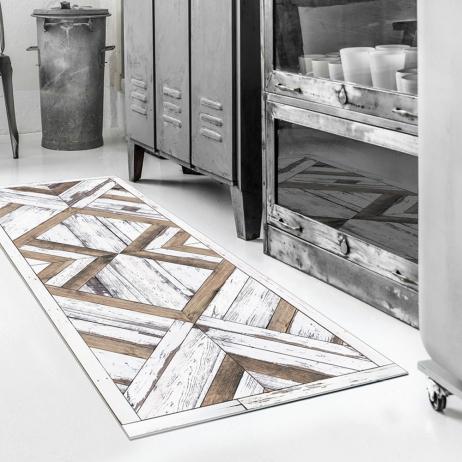 Tapis vinyle cuisine ou couloir Beija Flor W4 Wood Art