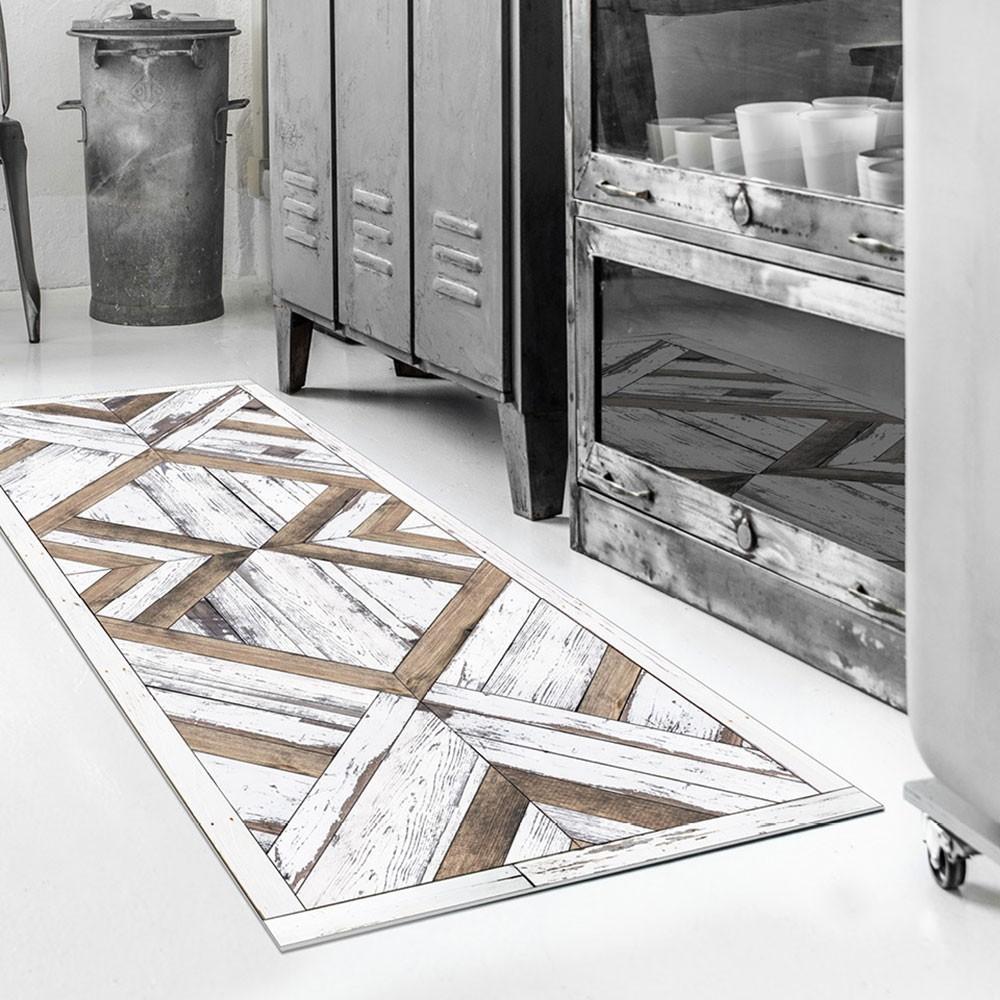 Tapis vinyle salon cuisine ou couloir Beija Flor W18 Wood Art