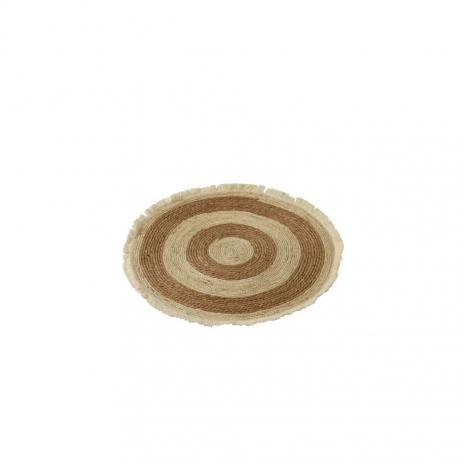 Déco murale Ronde ou tapis en coton Beige et Marron