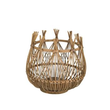 Photophore taille L en bambou et Rotin Naturel tressé H. 31 cm
