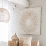 Suspension XL Lignes Fines Rotin coloris Blanc