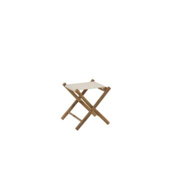 Chaise Pliante Bambou 40 cm et Textile tissu blanc cassé