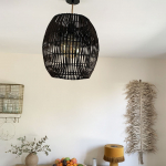 Abat jour Barres en Bambou armature métal noir