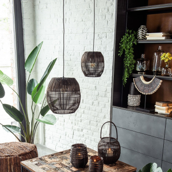 "Abat jour Barres en Bambou Naturel ""Tino"" E14 armature métal noir"