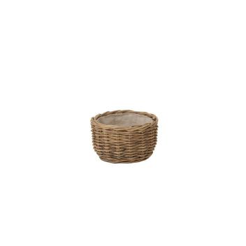 Panier à pain ou rangement rond en rotin et lin naturel D. 23 cm