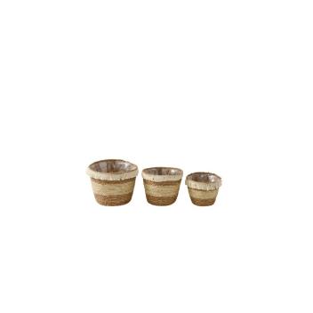 Set de 3 Paniers Beige - Marron avec franges - Rangement ou plantes