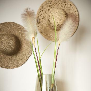 Chapeau L en paille tressage ajouré D. 38 cm Coloris clair