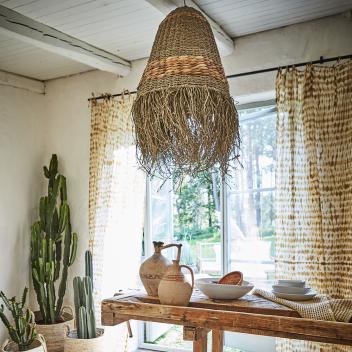 Abat jour Nesta avec franges en jacinthe d'eau