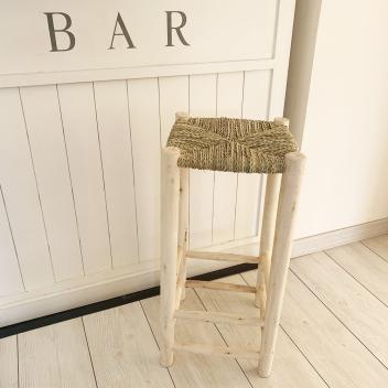 Tabouret de Bar H. 65 cm artisanat Marocain en Bois brut et Paille