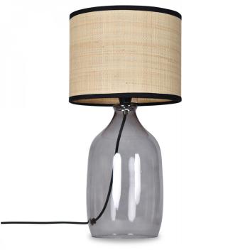 Lampe à poser avec base en Verre coloris noir et abat jour Raphia