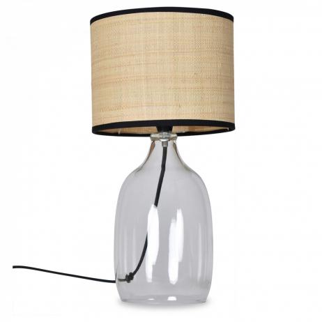 Lampe à poser avec base en Verre transparent et abat jour Raphia
