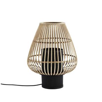 Lampe à poser en Bambou naturel base métal Noire - Madam Stoltz